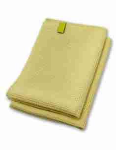 Mikrofaser Trockentuch, Premium Waffeltuch, Wassermagnet (2 Stück, 60×40 cm, Gelb)