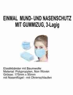 MUND & NASE MASKEN, 3 ply/ Lagen STANDARDMASKE